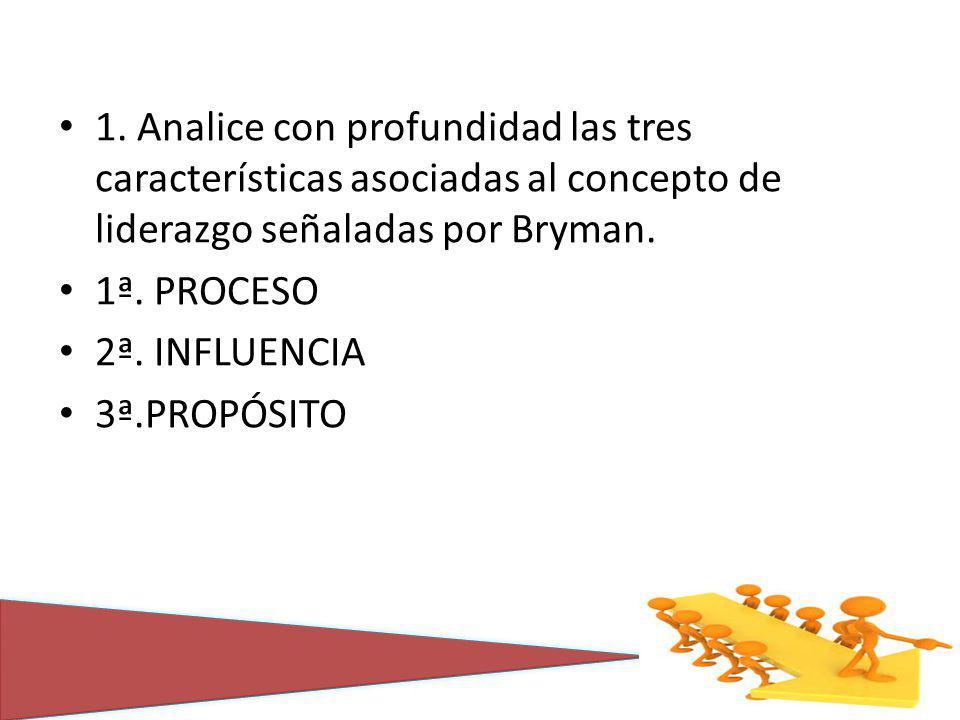 1. Analice con profundidad las tres características asociadas al concepto de liderazgo señaladas por Bryman.