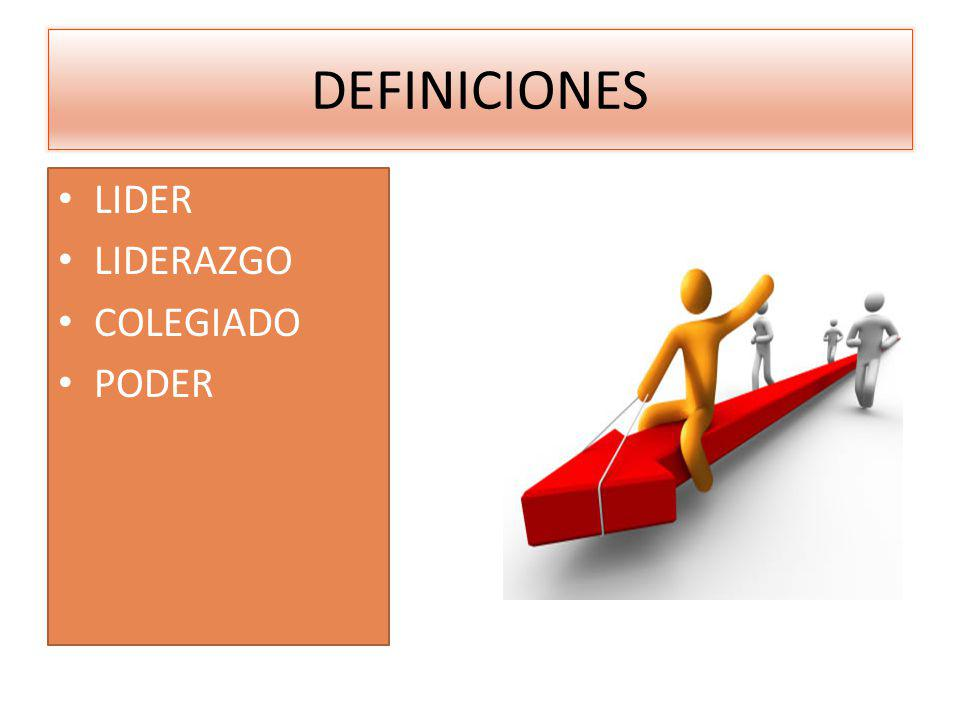 DEFINICIONES LIDER LIDERAZGO COLEGIADO PODER