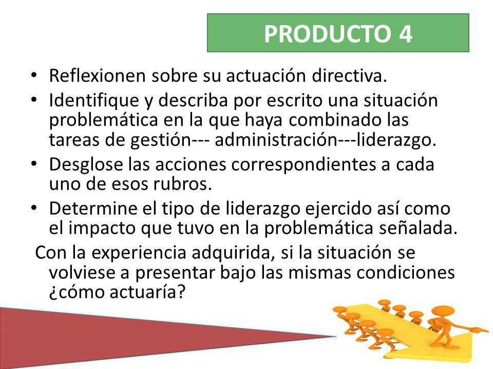 PRODUCTO 4 Reflexionen sobre su actuación directiva.