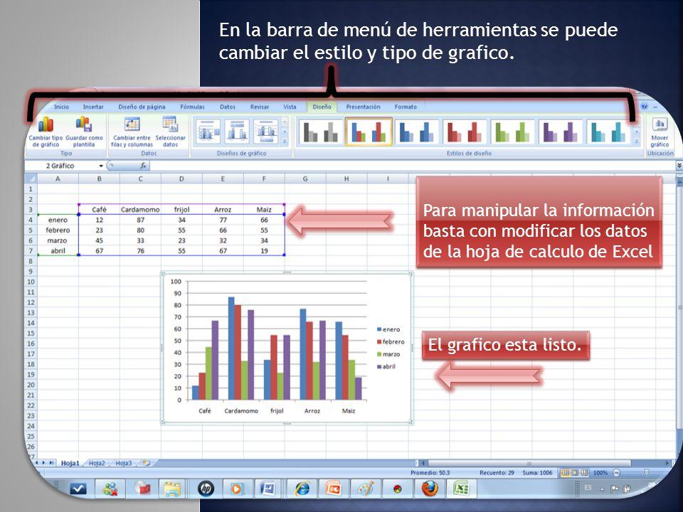 En la barra de menú de herramientas se puede cambiar el estilo y tipo de grafico.