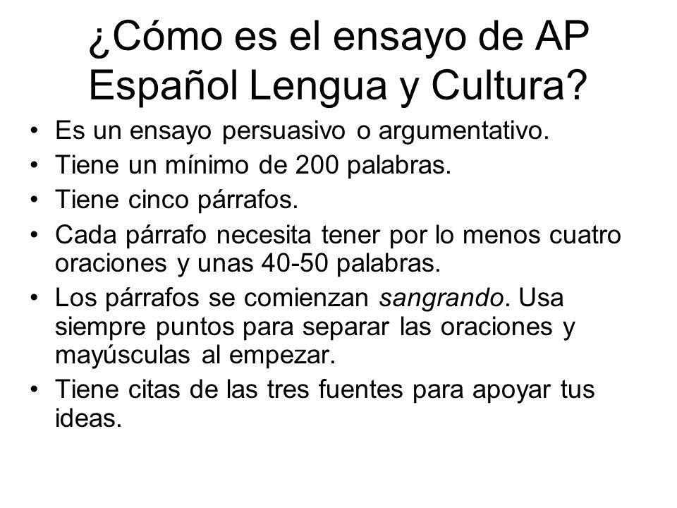 ¿Cómo es el ensayo de AP Español Lengua y Cultura