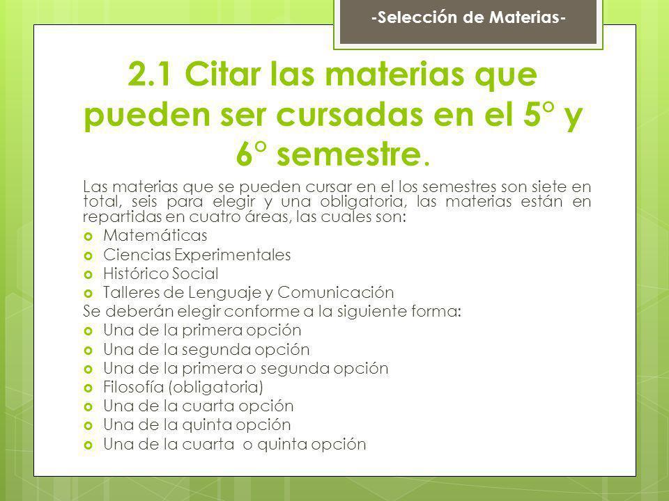 2.1 Citar las materias que pueden ser cursadas en el 5° y 6° semestre.