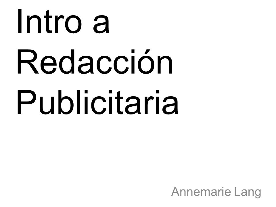 Intro a Redacción Publicitaria