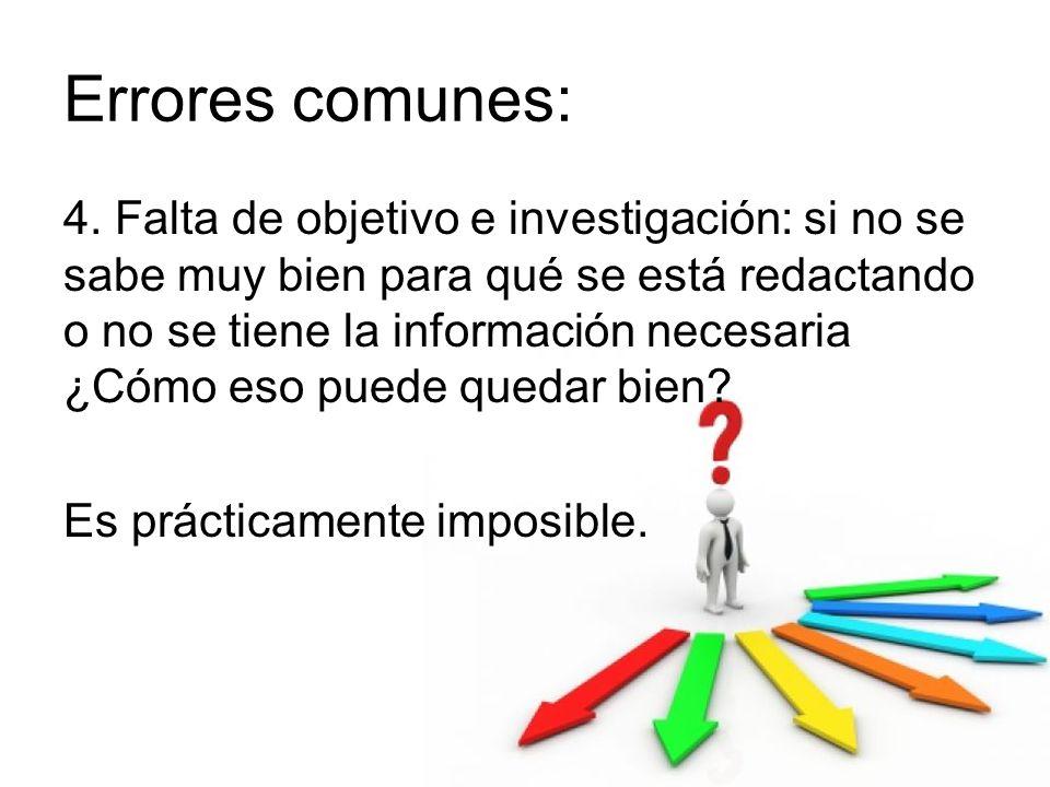 Errores comunes: