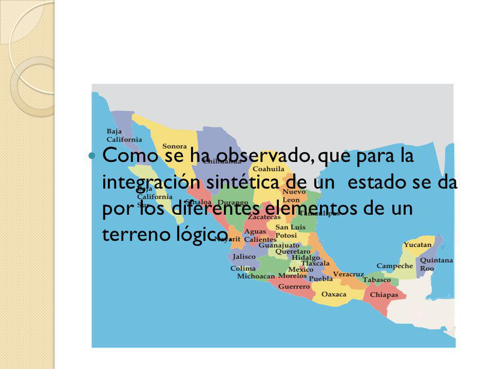 Como se ha observado, que para la integración sintética de un estado se da por los diferentes elementos de un terreno lógico.