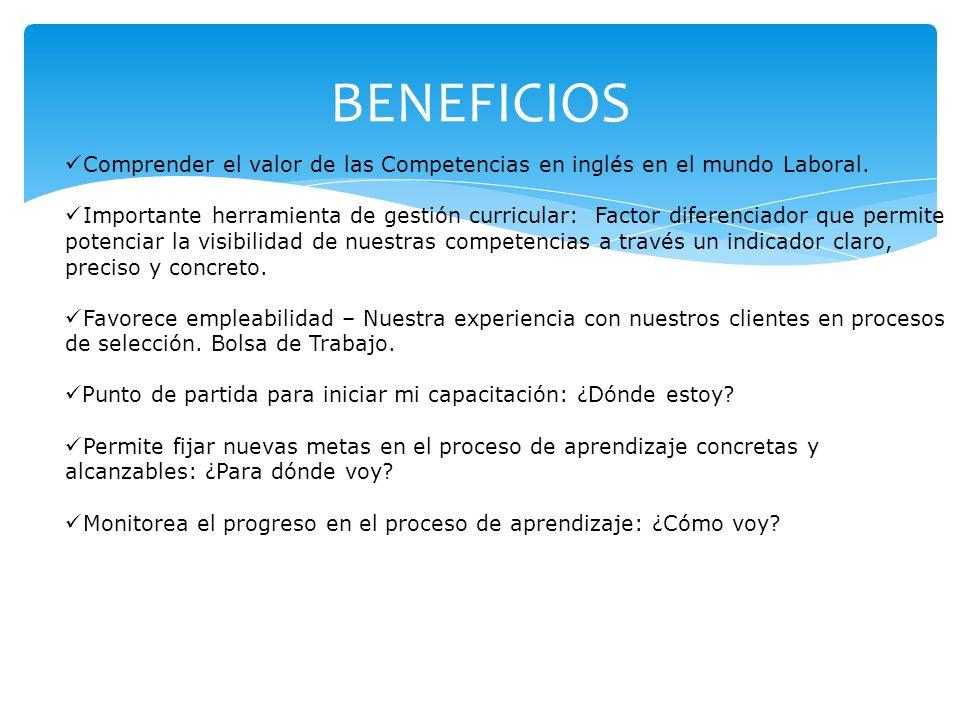 BENEFICIOS Comprender el valor de las Competencias en inglés en el mundo Laboral.