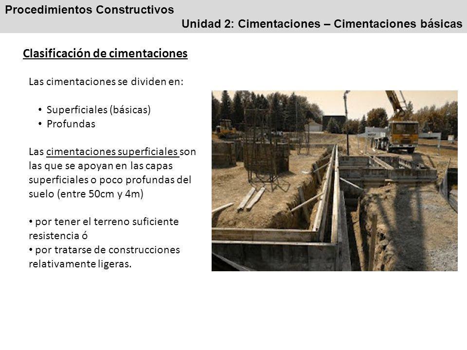 Clasificación de cimentaciones