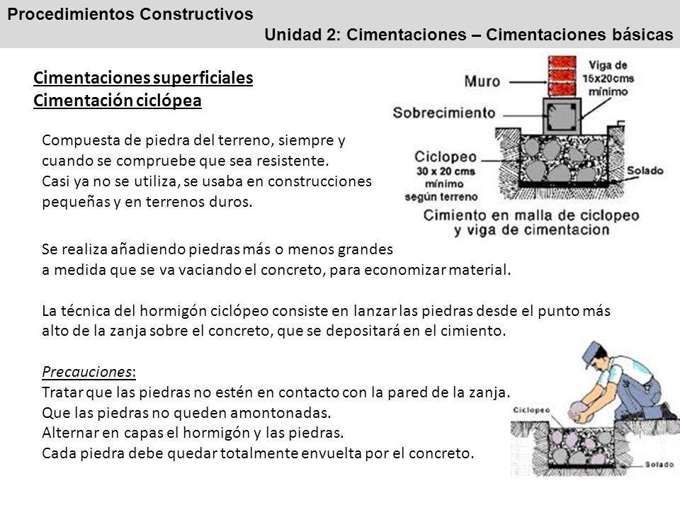 Cimentaciones superficiales Cimentación ciclópea
