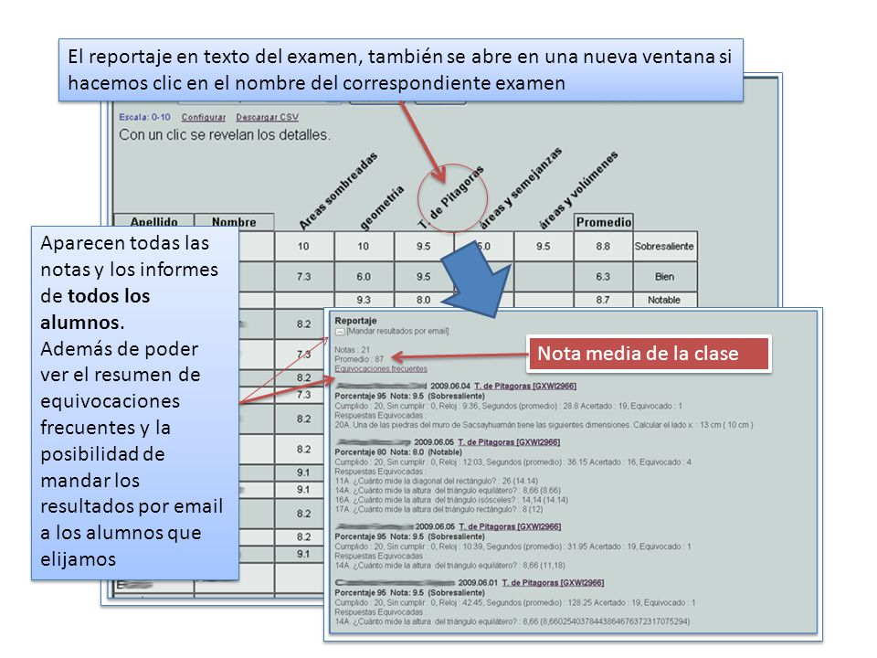 El reportaje en texto del examen, también se abre en una nueva ventana si hacemos clic en el nombre del correspondiente examen