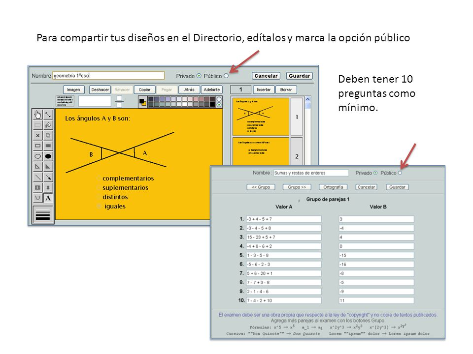Para compartir tus diseños en el Directorio, edítalos y marca la opción público