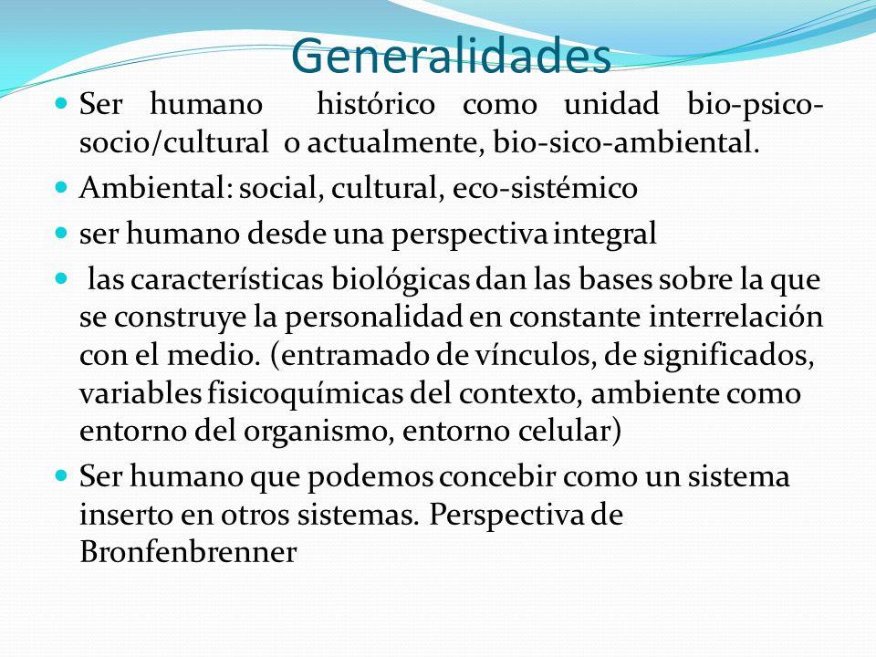 Generalidades Ser humano histórico como unidad bio-psico-socio/cultural o actualmente, bio-sico-ambiental.
