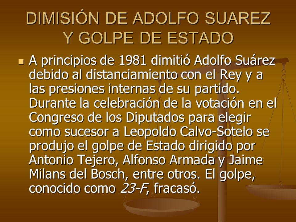 DIMISIÓN DE ADOLFO SUAREZ Y GOLPE DE ESTADO