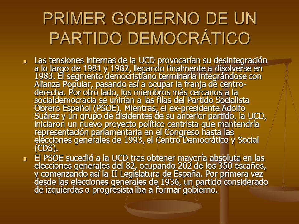 PRIMER GOBIERNO DE UN PARTIDO DEMOCRÁTICO