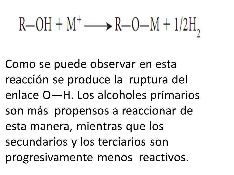 Como se puede observar en esta reacción se produce la ruptura del enlace O—H.