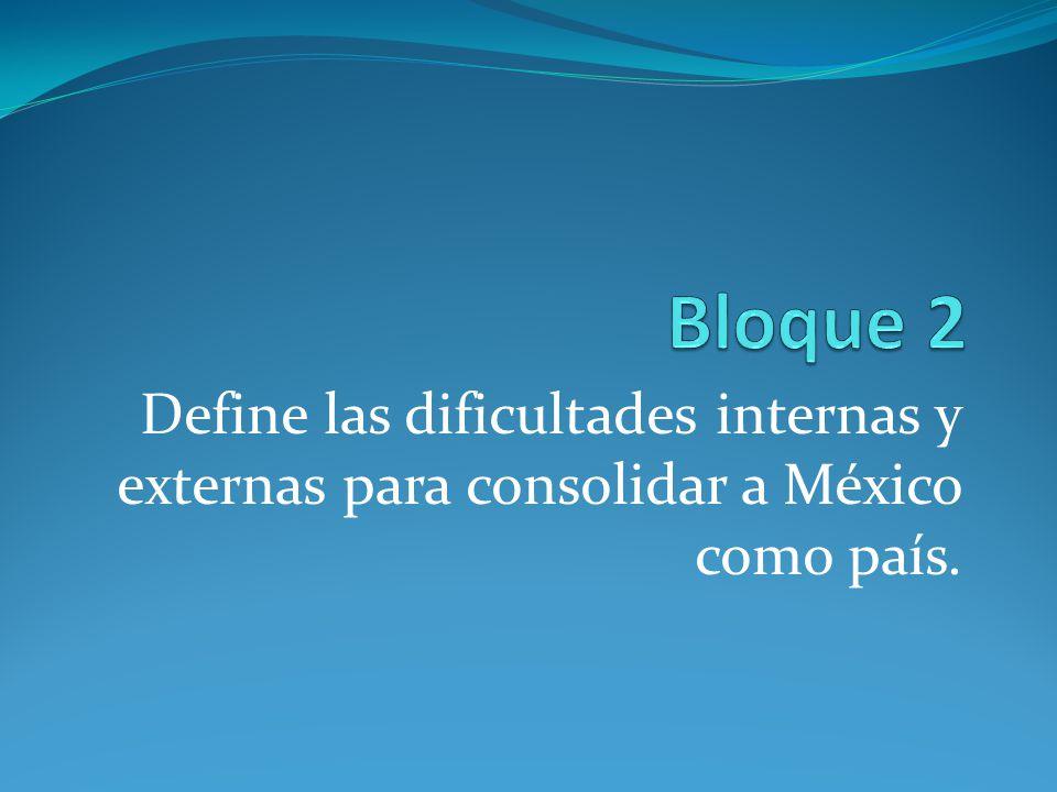 Bloque 2 Define las dificultades internas y externas para consolidar a México como país.