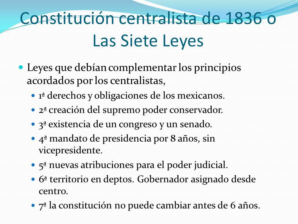 Constitución centralista de 1836 o Las Siete Leyes