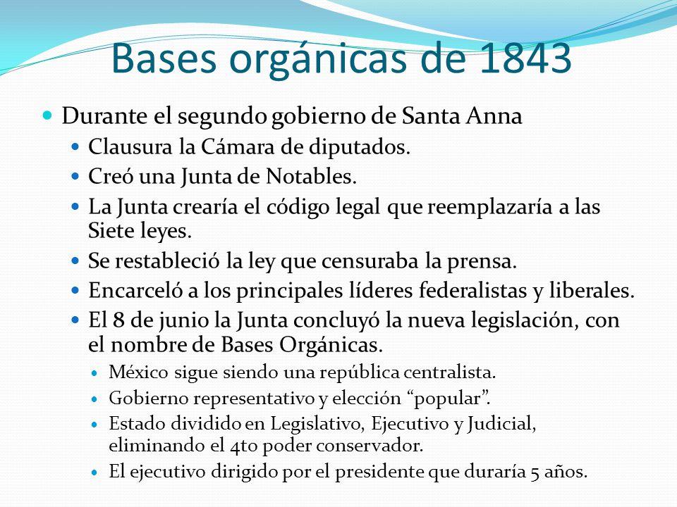 Bases orgánicas de 1843 Durante el segundo gobierno de Santa Anna