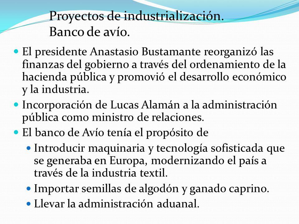 Proyectos de industrialización. Banco de avío.
