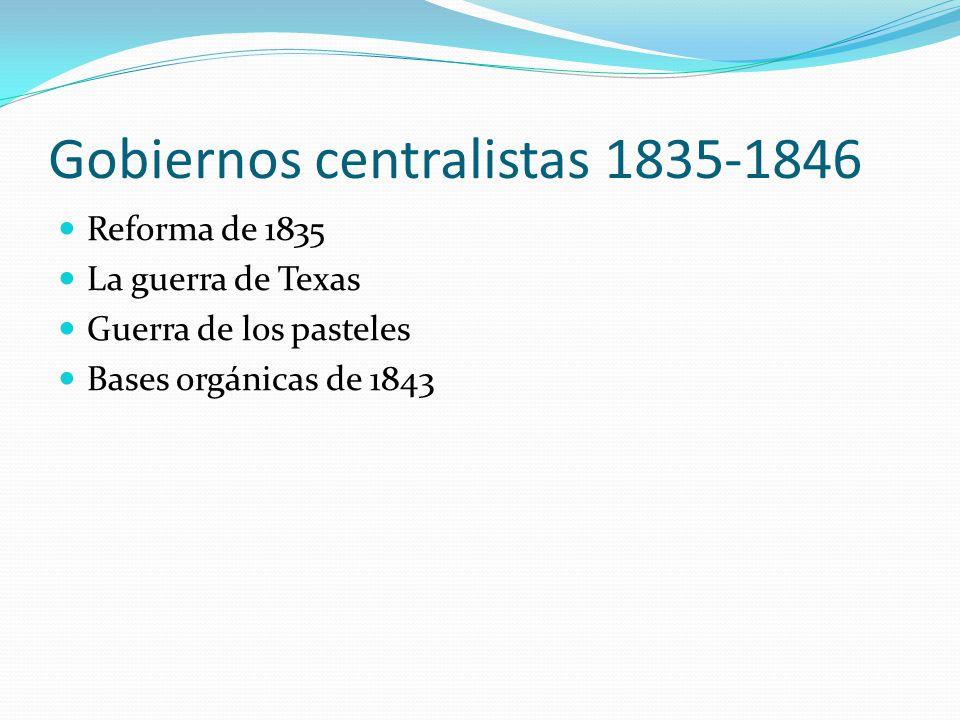 Gobiernos centralistas 1835-1846