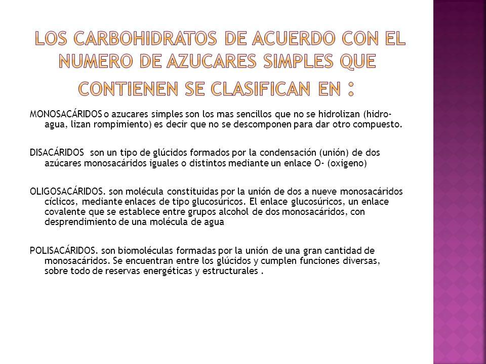 Los carbohidratos de acuerdo con el numero de azucares simples que contienen se clasifican en :