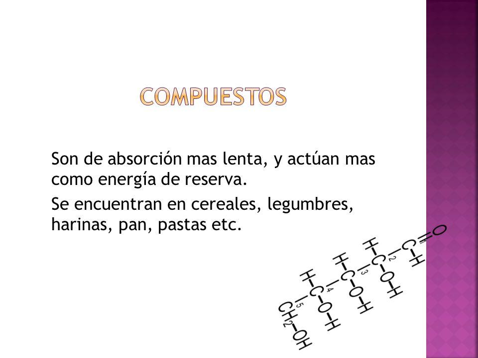 Compuestos Son de absorción mas lenta, y actúan mas como energía de reserva.