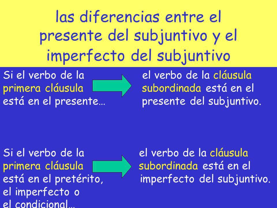 las diferencias entre el presente del subjuntivo y el imperfecto del subjuntivo