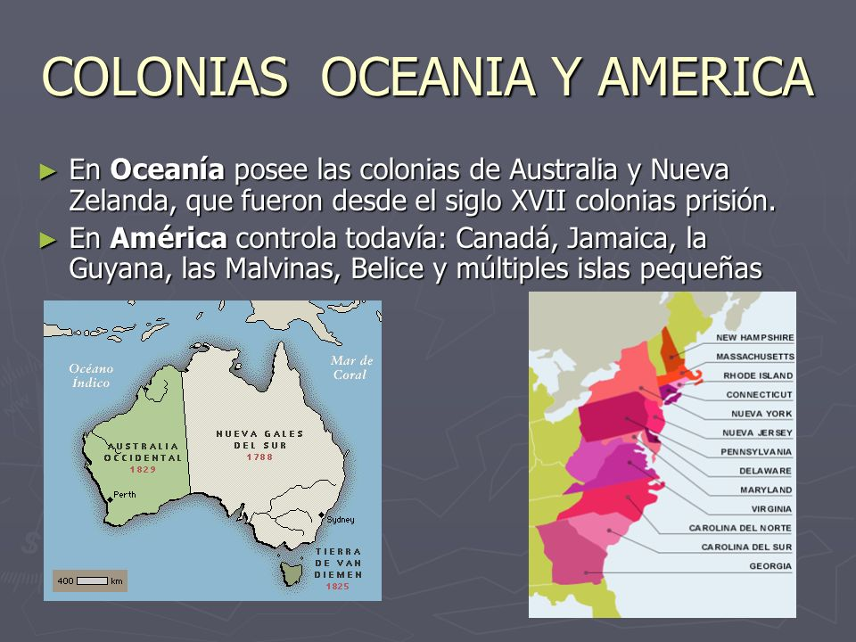 COLONIAS OCEANIA Y AMERICA