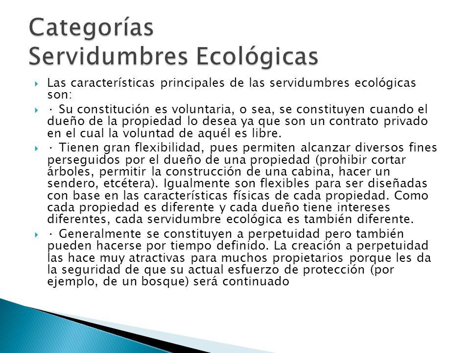 Categorías Servidumbres Ecológicas