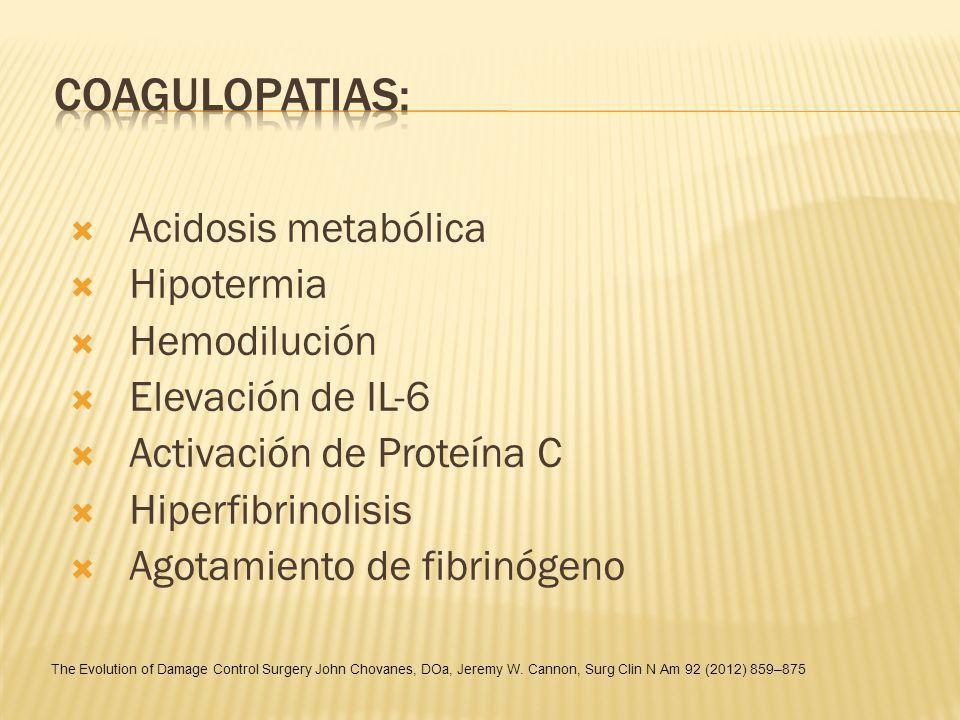 Coagulopatias: Acidosis metabólica Hipotermia Hemodilución