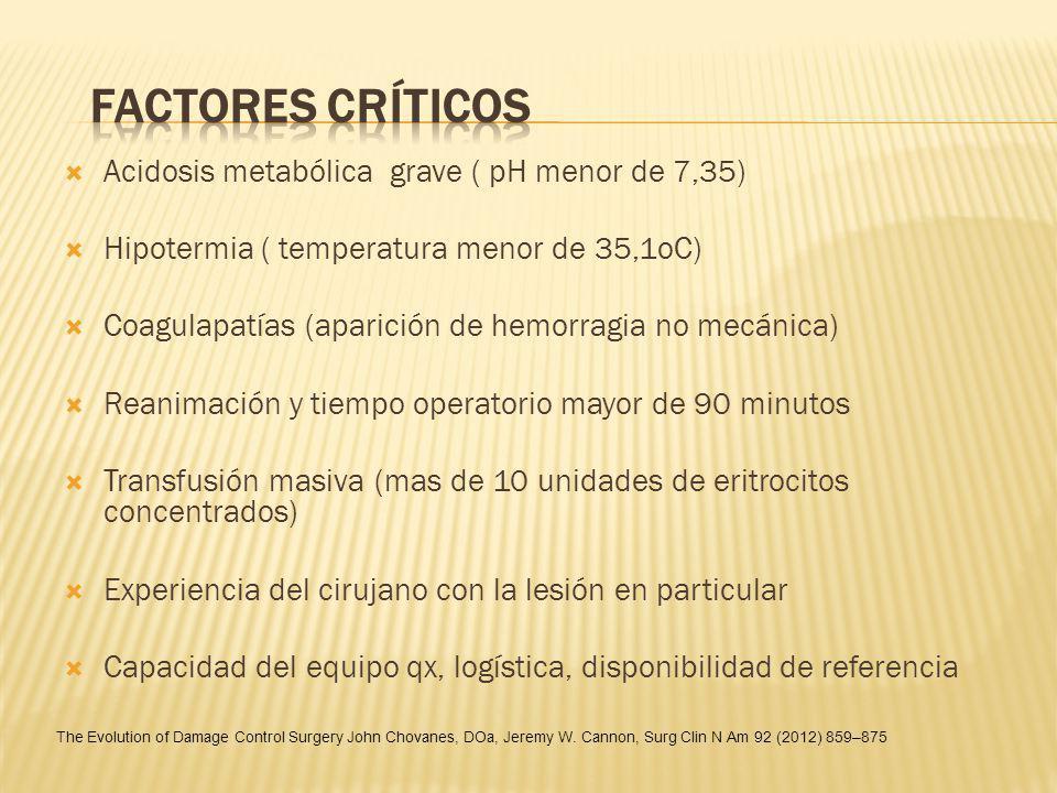 FACTORES CRÍTICOS Acidosis metabólica grave ( pH menor de 7,35)