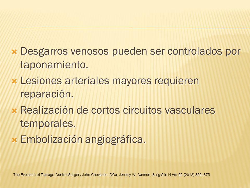 Desgarros venosos pueden ser controlados por taponamiento.
