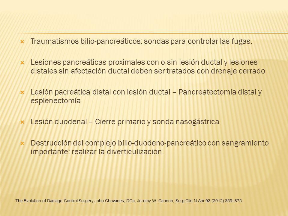 Traumatismos bilio-pancreáticos: sondas para controlar las fugas.