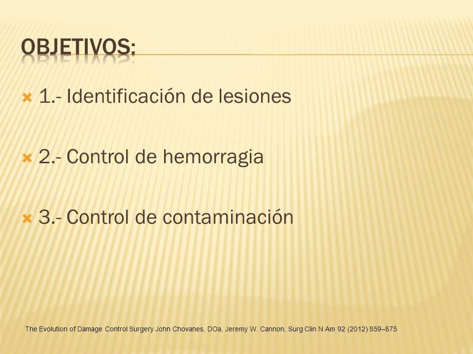 Objetivos: 1.- Identificación de lesiones 2.- Control de hemorragia