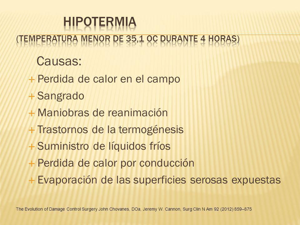 Hipotermia (temperatura menor de 35,1 oC durante 4 horas)