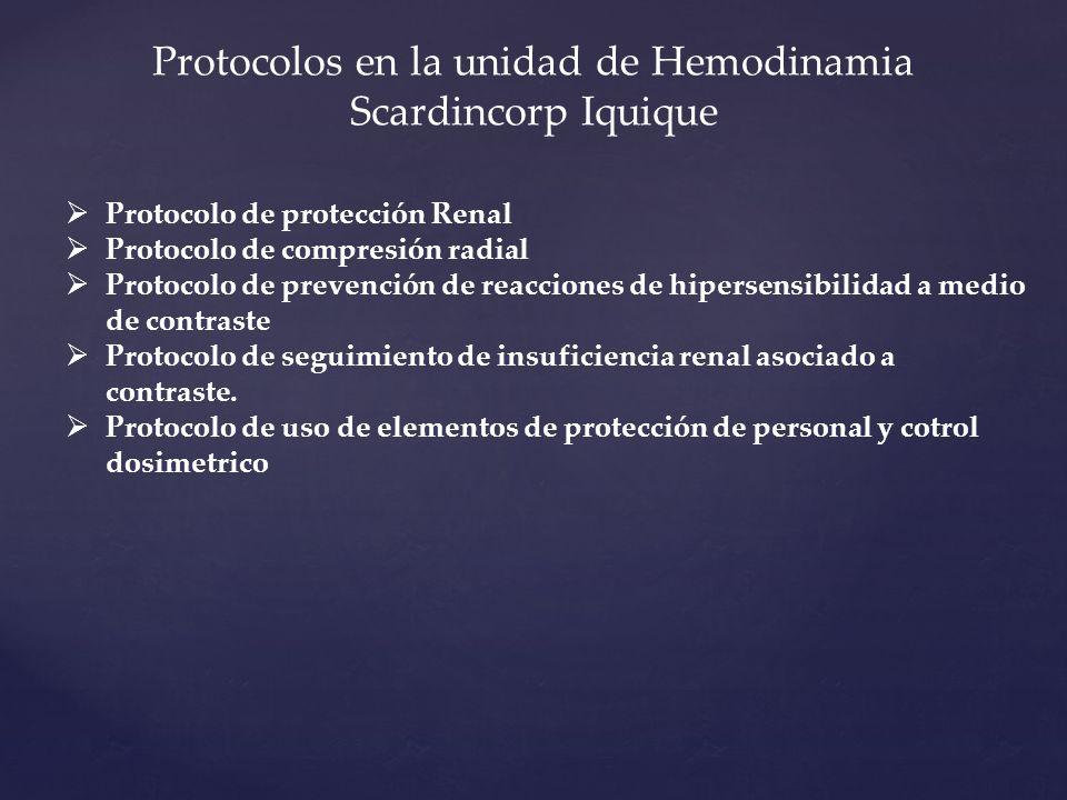 Protocolos en la unidad de Hemodinamia Scardincorp Iquique
