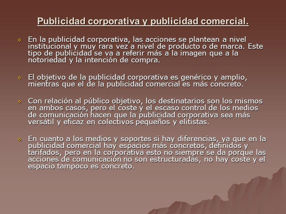 Publicidad corporativa y publicidad comercial.