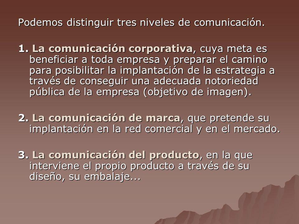 Podemos distinguir tres niveles de comunicación.