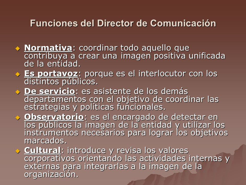 Funciones del Director de Comunicación