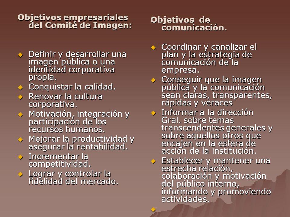 Objetivos empresariales del Comité de Imagen: