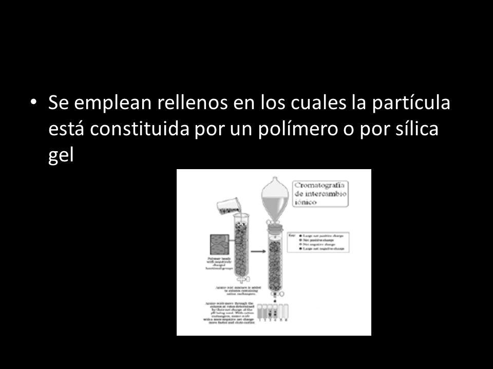 Se emplean rellenos en los cuales la partícula está constituida por un polímero o por sílica gel