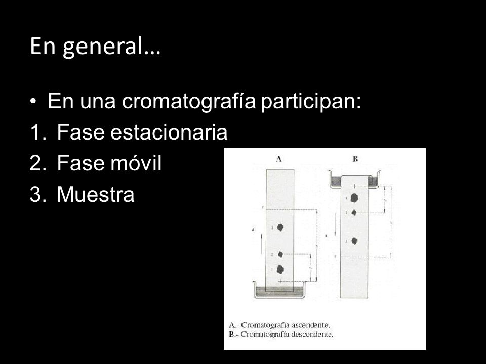 En general… En una cromatografía participan: Fase estacionaria
