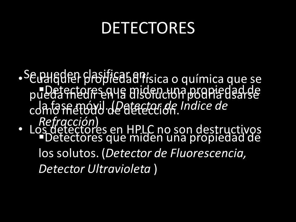 DETECTORES Se pueden clasificar en: