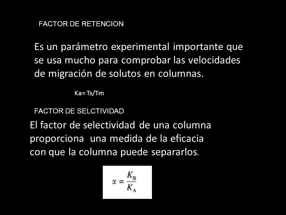 FACTOR DE RETENCION Es un parámetro experimental importante que se usa mucho para comprobar las velocidades de migración de solutos en columnas.