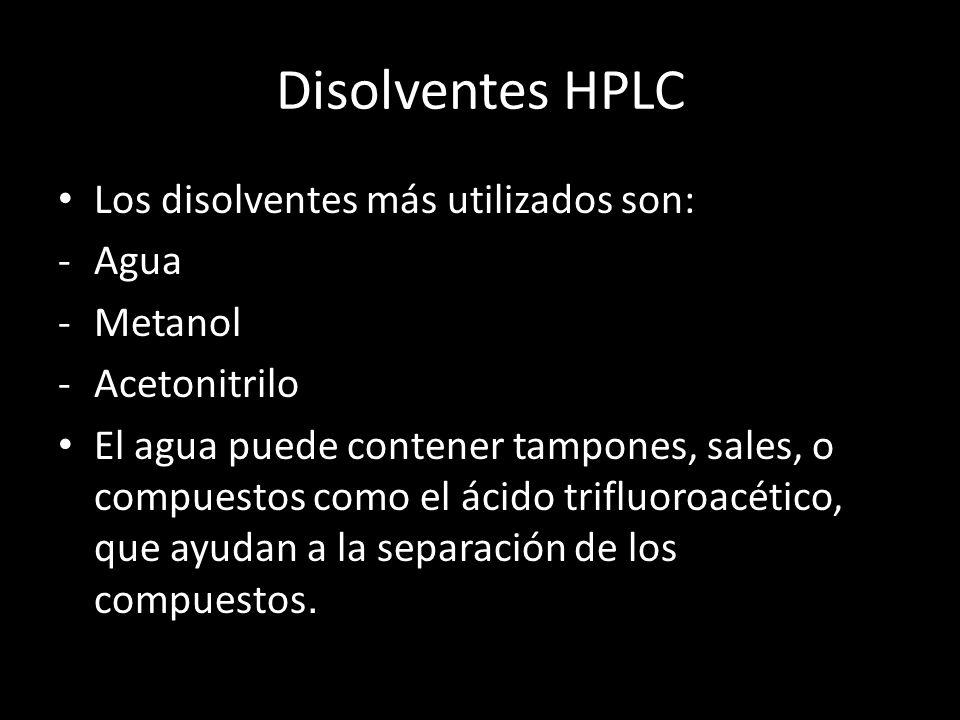 Disolventes HPLC Los disolventes más utilizados son: Agua Metanol