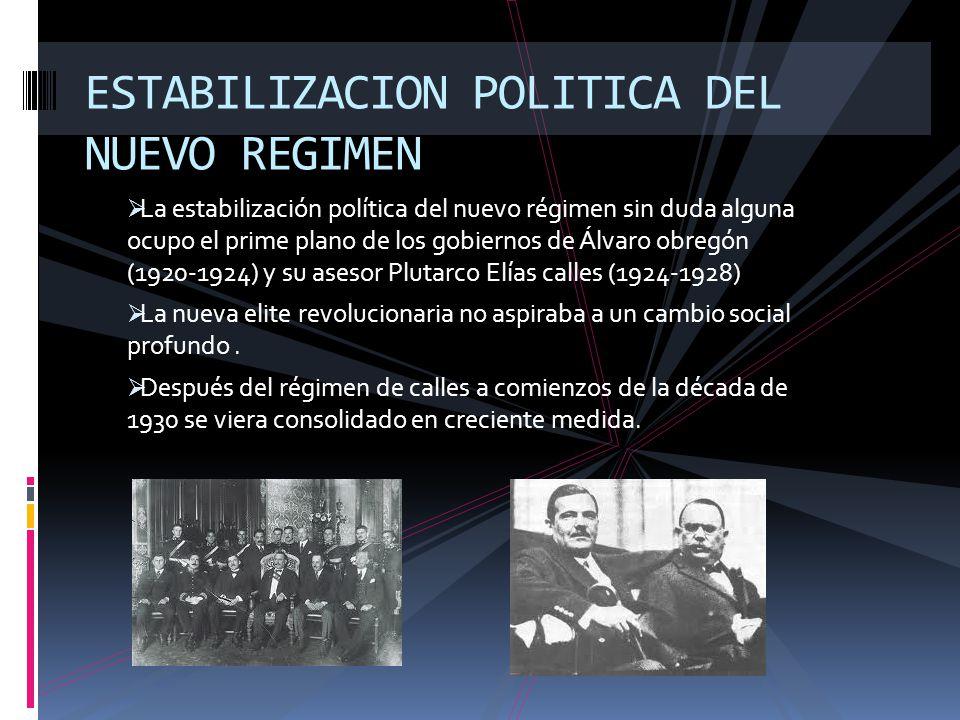 ESTABILIZACION POLITICA DEL NUEVO REGIMEN
