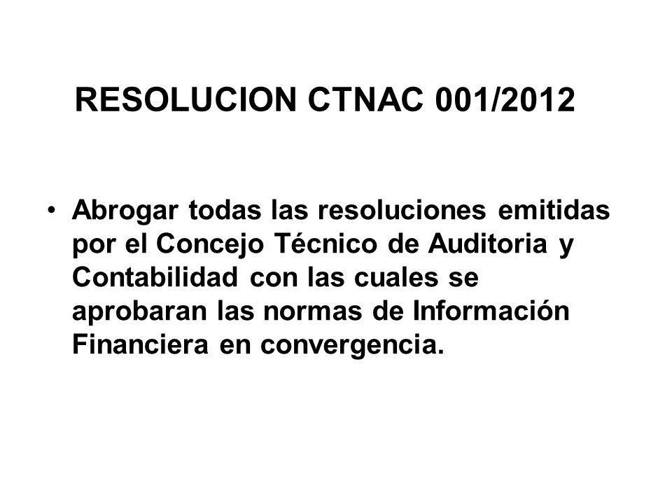 RESOLUCION CTNAC 001/2012