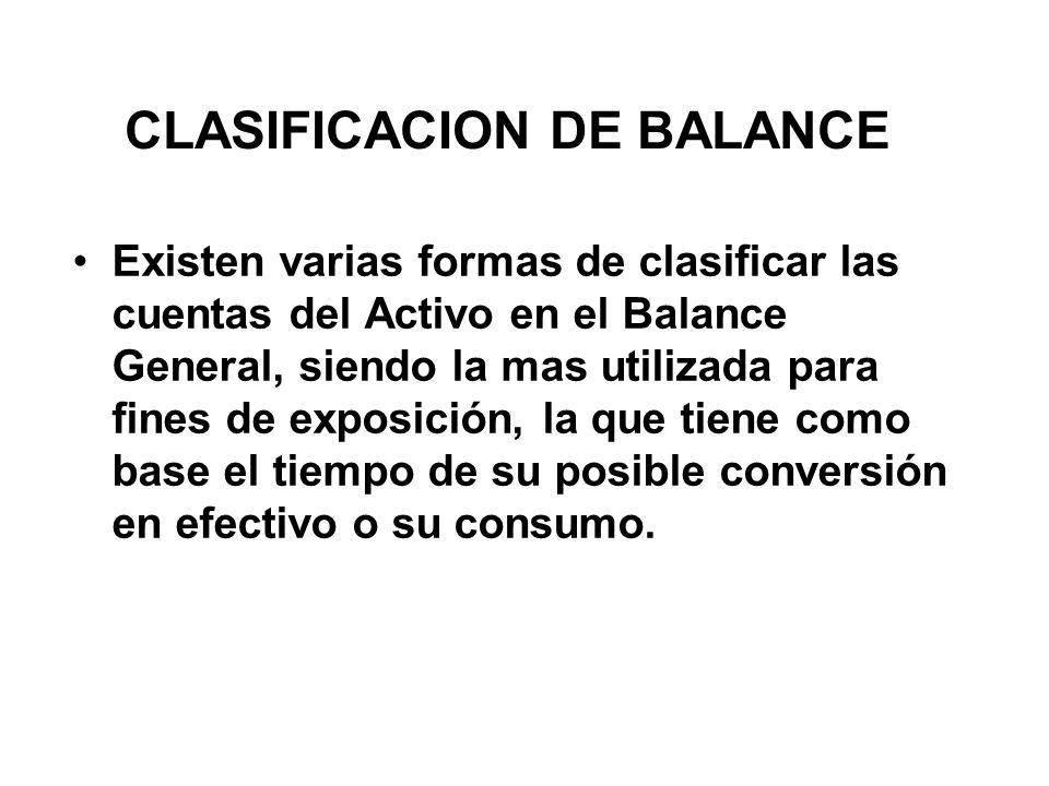 CLASIFICACION DE BALANCE