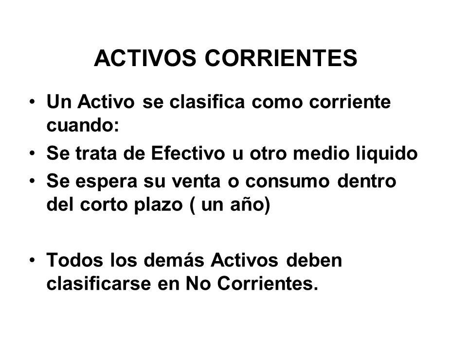 ACTIVOS CORRIENTES Un Activo se clasifica como corriente cuando: