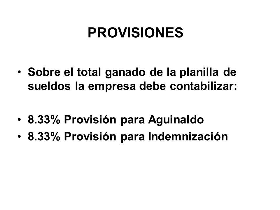 PROVISIONES Sobre el total ganado de la planilla de sueldos la empresa debe contabilizar: 8.33% Provisión para Aguinaldo.