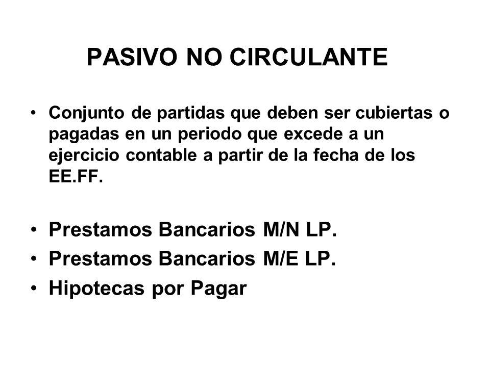 PASIVO NO CIRCULANTE Prestamos Bancarios M/N LP.